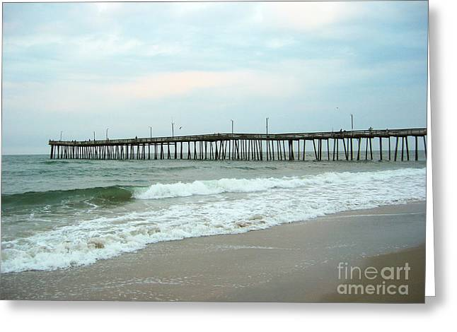 Blue Green Wave Greeting Cards - Pier Greeting Card by Ulli Karner