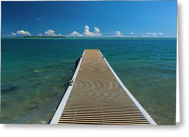 Pier With Cocos Island Greeting Card by Michael Runkel