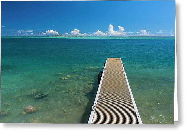 Pier With Cooks Island Greeting Card by Michael Runkel