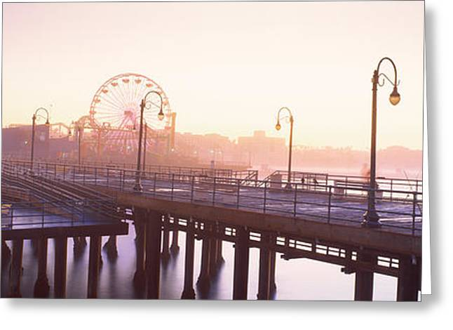 Amusements Greeting Cards - Pier With Ferris Wheel Greeting Card by Panoramic Images