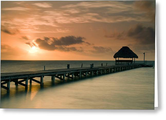 Belize Greeting Cards - Pier With Palapa At Sunrise, Ambergris Greeting Card by Panoramic Images