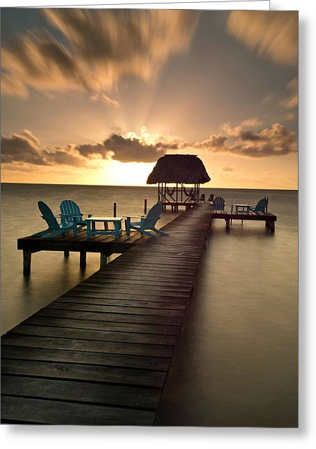 Belize Greeting Cards - Pier With Palapa On Caribbean Sea Greeting Card by Panoramic Images