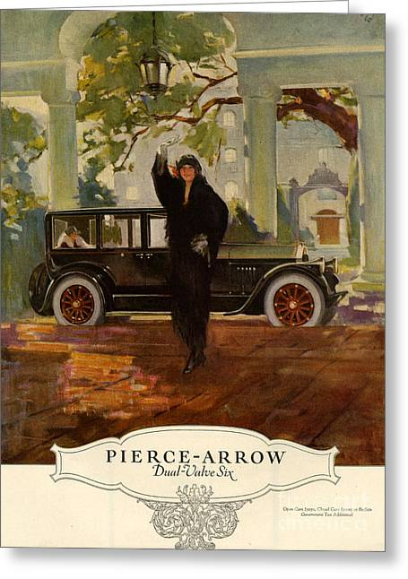 American Automobiles Greeting Cards - Pierce-arrow  1920s Usa Cc Cars Pierce Greeting Card by The Advertising Archives