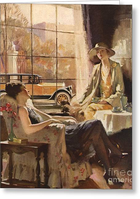 American Automobiles Greeting Cards - Pierce-arrow 1920s Usa Cc Drinking Tea Greeting Card by The Advertising Archives