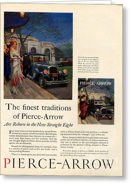 American Automobiles Greeting Cards - Pierce-arrow   1920s Usa Cc Womens Cars Greeting Card by The Advertising Archives