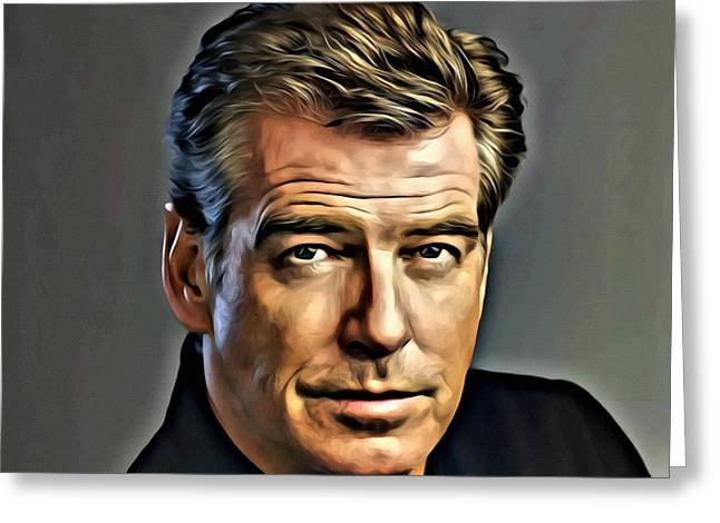 British Celebrities Photographs Greeting Cards - Pierce Brosnan Portrait Greeting Card by Florian Rodarte