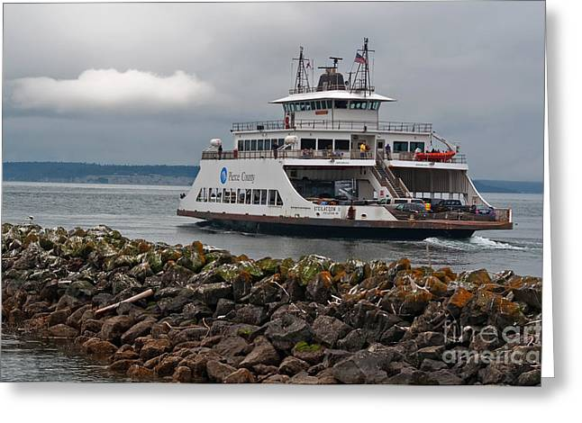 Steilacoom Greeting Cards - Pierce County Washington Ferry Greeting Card by Valerie Garner