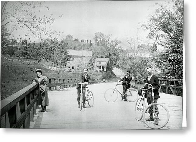 Vintage Bicycle Greeting Cards - Pierce Mill Bicyclists 1890 Greeting Card by Daniel Hagerman