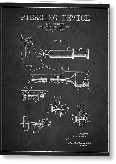 Piercings Greeting Cards - Piercing Device Patent From 1951 - charcoal Greeting Card by Aged Pixel