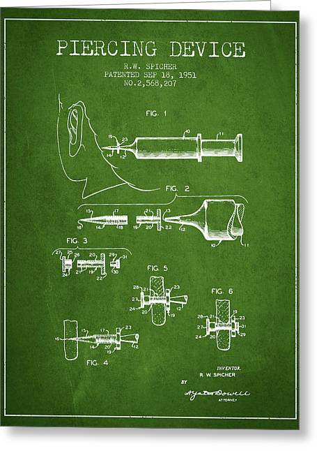 Piercings Greeting Cards - Piercing Device Patent From 1951 - Green Greeting Card by Aged Pixel