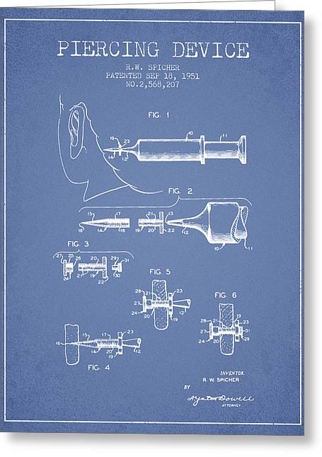 Piercings Greeting Cards - Piercing Device Patent From 1951 - Light Blue Greeting Card by Aged Pixel