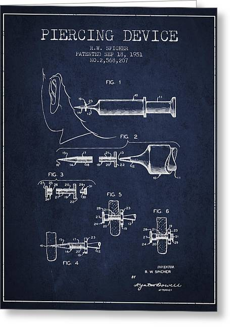 Piercings Greeting Cards - Piercing Device Patent From 1951 - Navy Blue Greeting Card by Aged Pixel