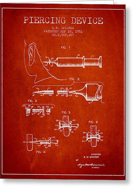 Piercings Greeting Cards - Piercing Device Patent From 1951 - red Greeting Card by Aged Pixel