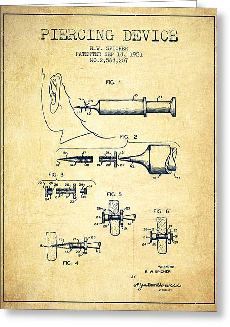 Piercings Greeting Cards - Piercing Device Patent From 1951 - Vintage Greeting Card by Aged Pixel