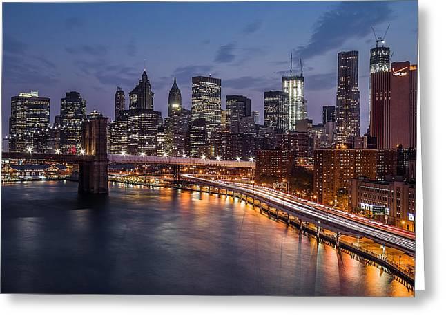 Fdr Drive Greeting Cards - Piercing Manhattan Greeting Card by Mihai Andritoiu