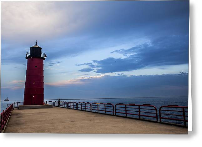 40mm Greeting Cards - Pierhead at Dusk Greeting Card by CJ Schmit
