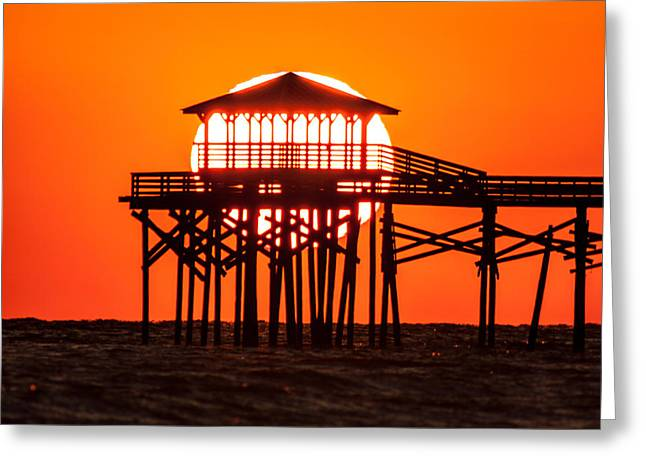 Tangerine Greeting Cards - Piering At The Sun  Greeting Card by Paula OMalley