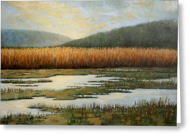 Oil Tapestries - Textiles Greeting Cards - Piermonts Marshes Greeting Card by Sue Barrasi
