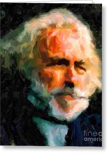 Tablets Drawings Greeting Cards - Pierre Richard Greeting Card by Miroslav Tyl