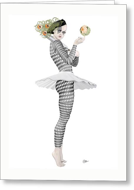 Cirque Greeting Cards - Pierrette clown  Greeting Card by Joaquin Abella