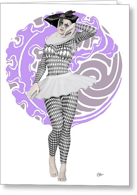 Pierrette Mime Greeting Card by Quim Abella