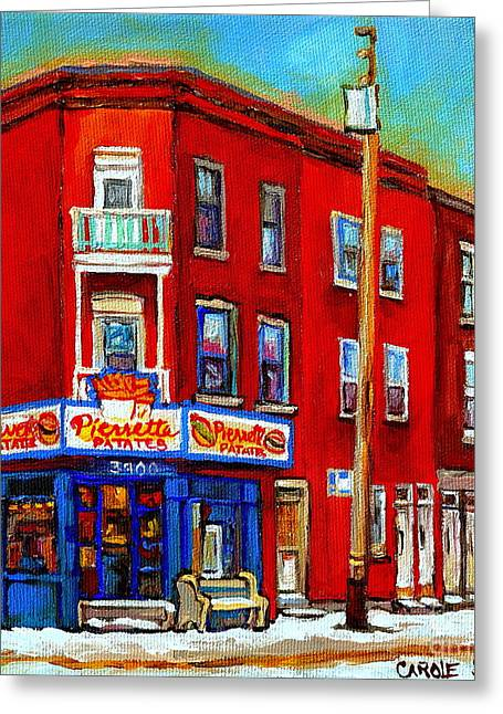 Verdun Restaurants Greeting Cards - Pierrette Patates 3900 Verdun Restaurant Montreal Streets And Shops City Of Verdun Art Work Scenes Greeting Card by Carole Spandau