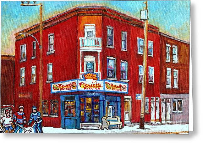 Verdun Connections Greeting Cards - Pierrette Patates Restaurant - Paintings Of Verdun - Verdun Winter Scenes -verdun Hockey Scenes Greeting Card by Carole Spandau