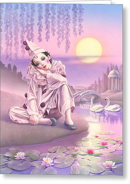 Pierrot Greeting Cards - Pierrot & Swans Greeting Card by Andrew Farley
