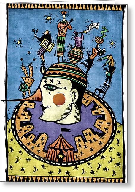 Linocut Digital Greeting Cards - Pierrot Greeting Card by Sue Todd