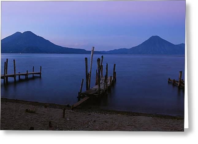 Guatemala Greeting Cards - Piers Over A Lake, Guatemala Greeting Card by Panoramic Images