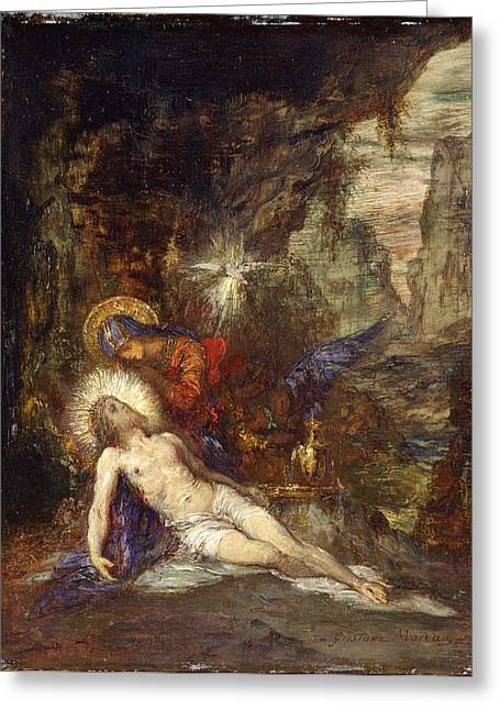 Gustave Moreau Greeting Cards - Pieta Greeting Card by Gustave Moreau