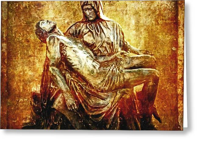 Calvary Greeting Cards - Pieta Via Dolorosa 13 Greeting Card by Lianne Schneider