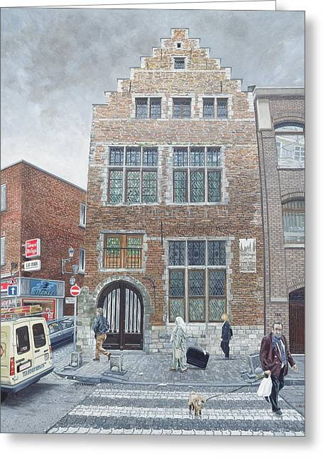 Street Scenes Photographs Greeting Cards - Pieter Brueghels House In Brussels, 1996 Oil On Board Greeting Card by Huw S. Parsons
