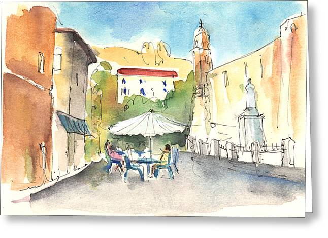 Historic Statue Drawings Greeting Cards - Pietrasanta in Italy 02 Greeting Card by Miki De Goodaboom