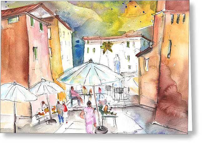 Town Square Drawings Greeting Cards - Pietrasanta in Italy 03 Greeting Card by Miki De Goodaboom