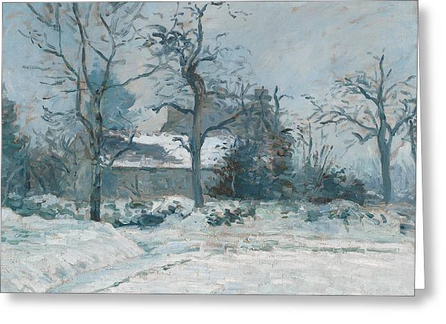 Winter Prints Paintings Greeting Cards - Piettes House at Montfoucault Greeting Card by Camille Pissarro