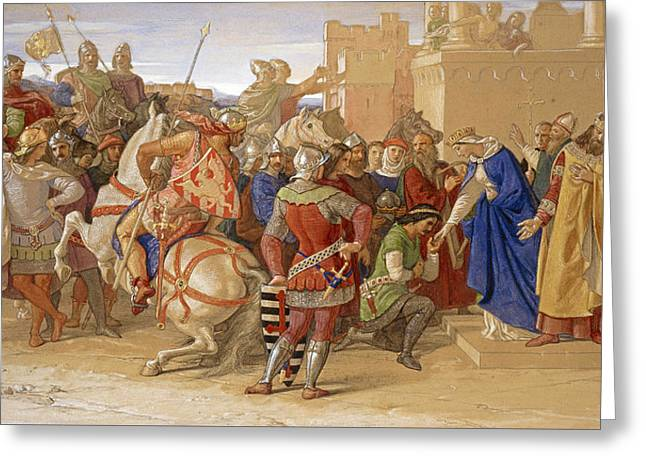 Grail Greeting Cards - Piety The Knights of the Round Table about to Depart in Quest of the Holy Grail Greeting Card by William Dyce