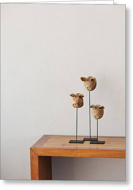 Brown Head Sculpture Greeting Cards - Pig heads Greeting Card by Ulrich Schade