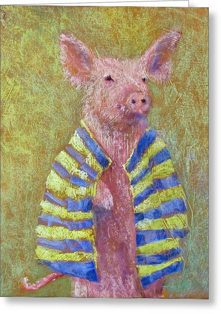 Pigs Pastels Greeting Cards - Pig in a Blanket Greeting Card by Julia Patterson
