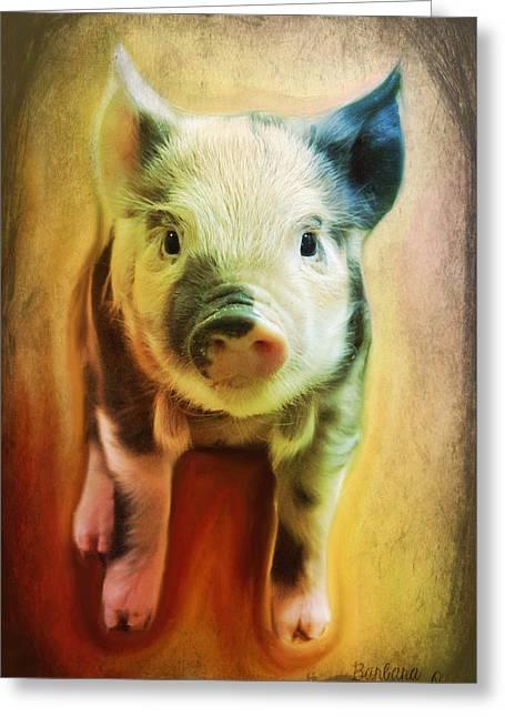 Piglets Greeting Cards - Pig is beautiful Greeting Card by Barbara Orenya