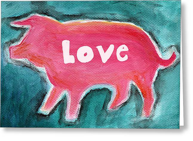 Farm Mixed Media Greeting Cards - Pig Love Greeting Card by Linda Woods
