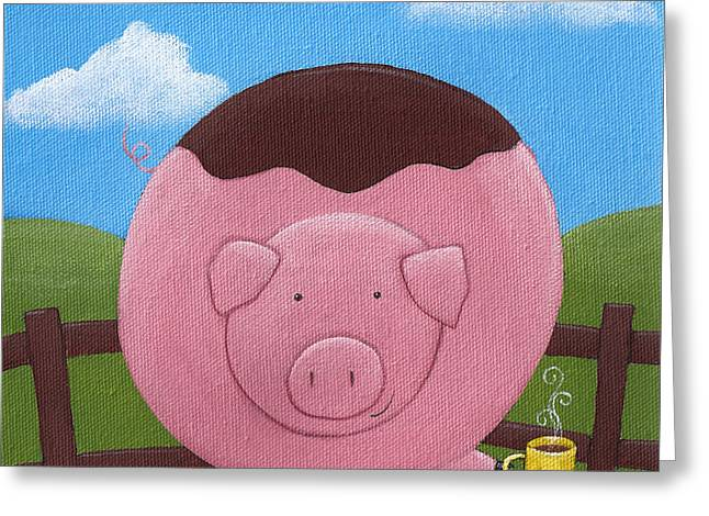 Porcine Animal Greeting Cards - Pig Nursery Art Greeting Card by Christy Beckwith