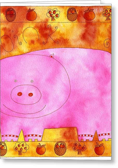 Piglets Mixed Media Greeting Cards - Pig Oink Greeting Card by Julie Nicholls