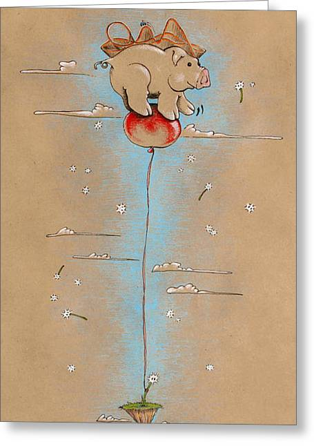 Baby Animal Drawings Greeting Cards - Pig on Balloon Greeting Card by David Breeding