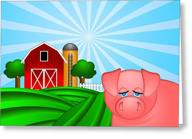 Farm Raised Pigs Greeting Cards - Pig on Green Pasture with Red Barn with Grain Silo  Greeting Card by JPLDesigns