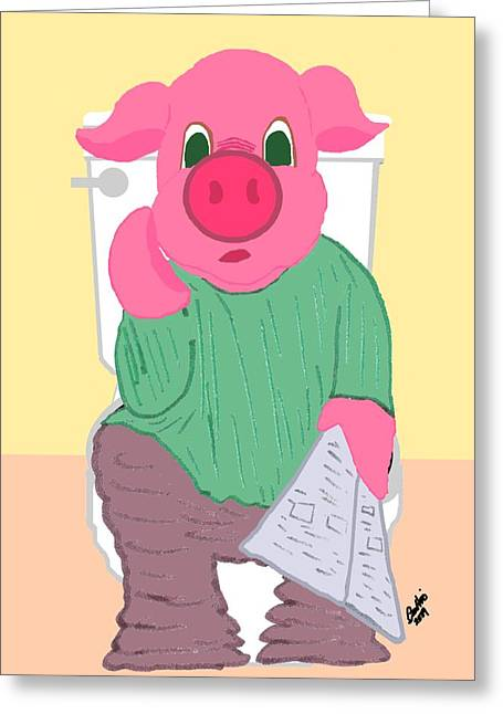 Bathroom Prints Mixed Media Greeting Cards - Pig on the Hopper Greeting Card by Pharris Art