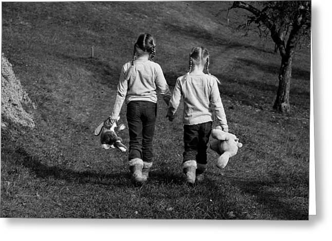 Black Pig Greeting Cards - Sisters Holding Hands Greeting Card by Mountain Dreams