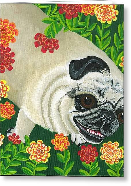 Lori Ziemba Greeting Cards - Pig the Pug Greeting Card by Lori Ziemba