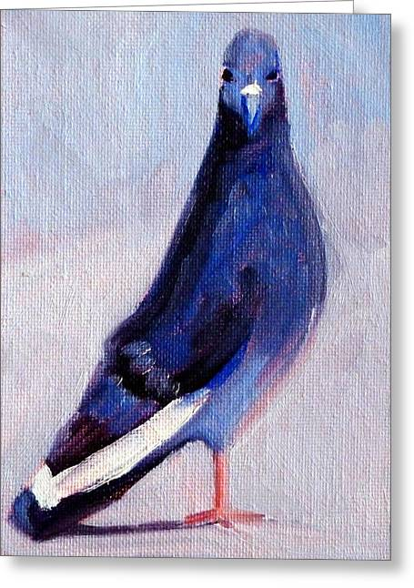 Wall Street Greeting Cards - Pigeon Bird Portrait Painting Greeting Card by Nancy Merkle