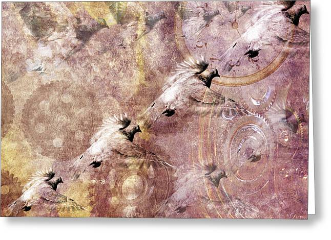 Beady Eyes Greeting Cards - Pigeon flying away Greeting Card by Toppart Sweden